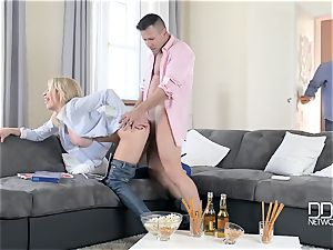 Drunken guy and his best acquaintance plumb his huge-titted filthy whore-wife Chessie Kay