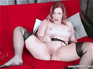 red-hot honey peels off dark-hued undergarments drains in nylon garter