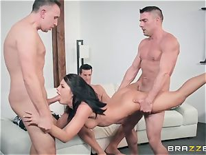 My boss's youthful wife Adriana Chechik takes four peckers in her fuck-hole and gets covered