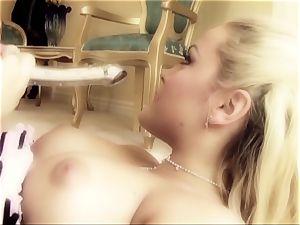 porno honey Tori black is inserted in suspenders