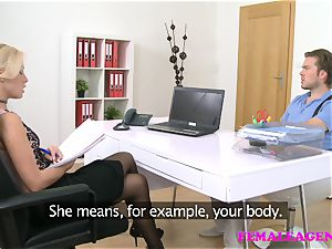 FemaleAgent brit boy in audition with blond agent
