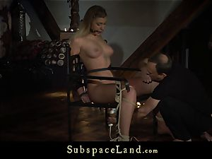 towheaded trussed and ball-gagged disciplined with blow cum-shot