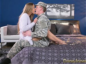 Dane Jones rigid deepthroating and drilling sloppy Army wife