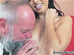 Latina nubile blows granddad
