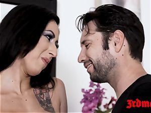 tatted stunner Lily Lane bashed and fed with sizzling jism