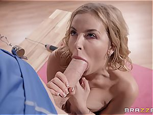 crazy yoga featuring a blonde sweetie with thick hooters