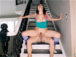 Valentina Nappi beaten in her minge with her grandma sleeping in the room