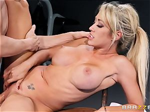 Capri Cavanni finishes her workout with some big wood