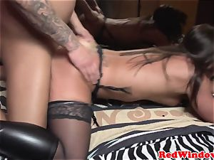 Real dutch prostitute doggystyled in pantyhose