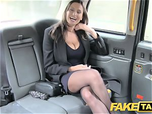 faux cab warm huge-titted stunner gets ample jizz shot