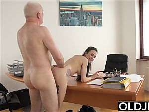dame pulverized by elderly fellow Office gargle blow-job