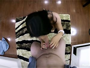cool Romi gives a steamy point of view suck off and plumb