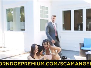 SCAM ANGELS - steaming Melissa Moore smashed in wild four-way