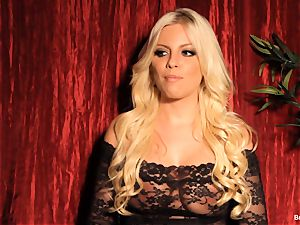 Britney Amber gives an interview and masturbates