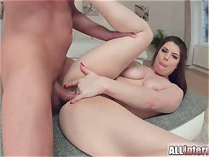 Allinternal dark haired tastes her assfuck creampie