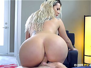 Smoking super-hot platinum-blonde with a phat arse riding on top of Danny D