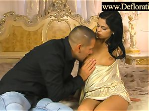 Defloration of a blackhaired nubile
